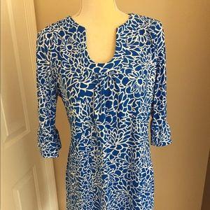 Blue Patterned Floral Dress